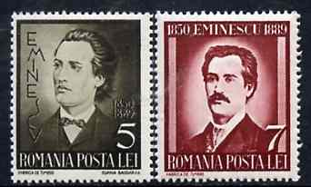 Rumania 1939 Death Anniversary of Michael Eminescu set of 2 unmounted mint, SG 1409-10, Mi 596-97
