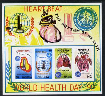 Nigeria 1992 World Health Day (Heart) m/s imperforate unmounted mint, SG 629var