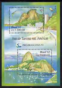 Brazil 1992 Tourism m/s containing 1,200 cr & 9,000 cr unmounted mint, SG MS 2563