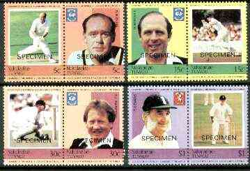 Tuvalu - Nukulaelae 1984 Cricketers (Leaders of the World) set of 8 opt'd SPECIMEN unmounted mint