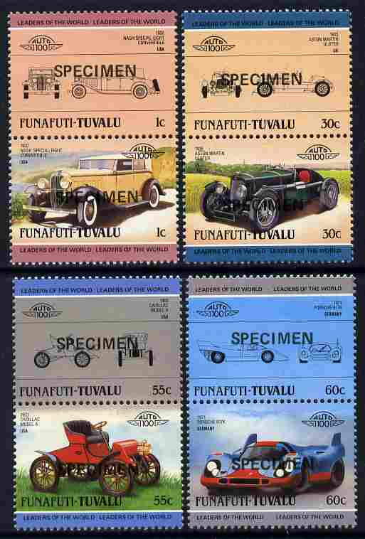 Tuvalu - Funafuti 1985 Cars #2 (Leaders of the World) set of 8 opt'd SPECIMEN unmounted mint