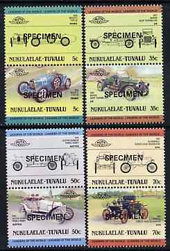 Tuvalu - Nukulaelae 1985 Cars #1 (Leaders of the World) set of 8 opt'd SPECIMEN unmounted mint