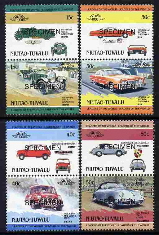 Tuvalu - Niutao 1984 Cars #1 (Leaders of the World) set of 8 opt'd SPECIMEN unmounted mint