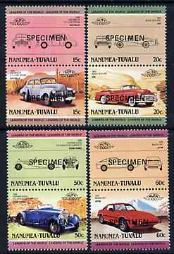 Tuvalu - Nanumea 1985 Cars #2 (Leaders of the World) set of 8 opt'd SPECIMEN unmounted mint