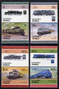 Tuvalu - Nanumea 1985 Locomotives #2 (Leaders of the World) set of 8 opt'd SPECIMEN unmounted mint