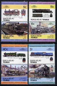 Tuvalu - Nukulaelae 1984 Locomotives #1 (Leaders of the World) set of 8  opt'd SPECIMEN unmounted mint