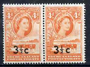 Bechuanaland 1961 Decimal Surcharge 3.5c on 4d (BaoBab Tree & Cattle) with type I wide surch in unmounted mint marginal pair with normal, SG 161/b