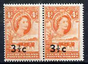 Bechuanaland 1961 Decimal Surcharge 3.5c on 4d (BaoBab Tree & Cattle) with type II wide surch in unmounted mint marginal pair with normal, SG 161a & c