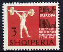 Albania 1963 European Sports Events 3L Weightlifting unmounted mint, Mi 764