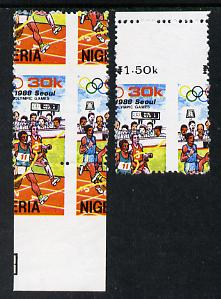 Nigeria 1988 Seoul Olympic Games (Athletics) 30k marginal singles from each side of sheet showing spectacular misplaced perfs error unmounted mint, as SG 567