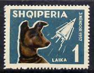 Albania 1962 Dog Laika & Sputnik II 1L unmounted mint, Mi 664