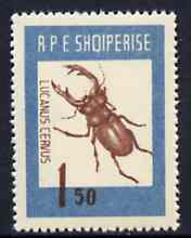 Albania 1963 Lucanus cervus 1L50 from Insects set unmounted mint, Mi 736