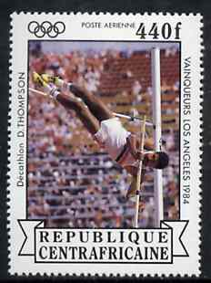 Central African Republic 1985 Pole Vault (Decathlon) 440f from Olympic Gold Medalists set unmounted mint, SG 1071