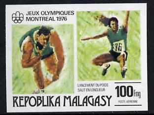 Malagasy Republic 1976 Putting the Shot & Long Jump 100f imperf from Olympic Games set unmounted mint, as SG 340*