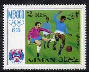 Ajman 1968 Football 2R from Mexico Olympics perf set unmounted mint, Mi 251