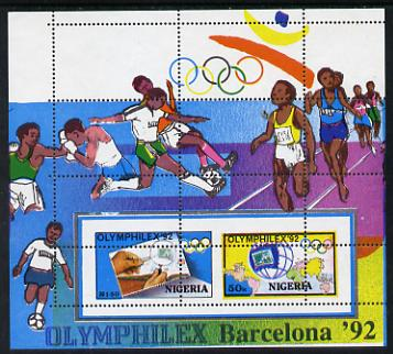 Nigeria 1992 'Olymphilex 92' Olympic Stamp Exhibition m/sheet superb unmounted mint grossly misperf'd (perfs pass through centre of stamps) SG MS 632var