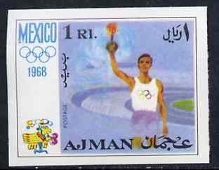 Ajman 1968 Olympic Torch 1R from Mexico Olympics imperf set of 8 unmounted mint, Mi 247B