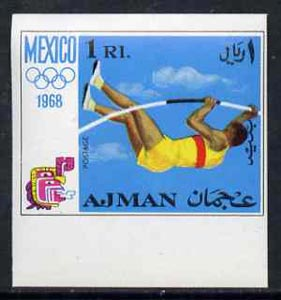 Ajman 1968 Pole Vault 1R from Mexico Olympics imperf set of 8 unmounted mint, Mi 250B
