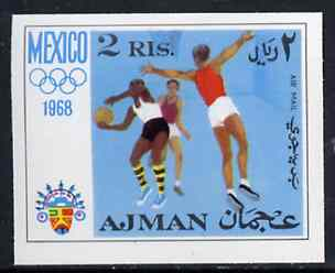 Ajman 1968 Basketball 2R from Mexico Olympics imperf set of 8 unmounted mint, Mi 252B