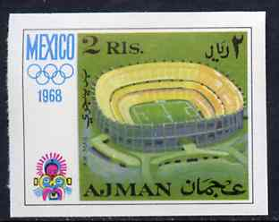 Ajman 1968 Olympic Stadium 2R from Mexico Olympics imperf set of 8 unmounted mint, Mi 254B