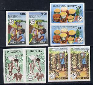 Nigeria 1992 Tropical Agriculture set of 4 in unmounted mint IMPERFORATE pairs