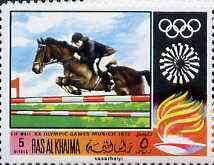 Ras Al Khaima 1970 Show Jumping 5R from Olympics perf set unmounted mint, Mi 388A