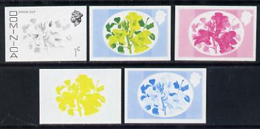 Dominica 1975-78 African Tulip 1c set of 5 imperf progressive colour proofs comprising the 4 basic colours plus 2-colour composite unmounted mint (as SG 491)