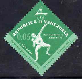 Venezuela 1962 Putting the Shot 5c from National Games Diamond shaped set, SG 1740 unmounted mint