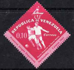 Venezuela 1962 Football 10c from National Games Diamond shaped set, SG 1741 unmounted mint, stamps on football           diamond, stamps on sport