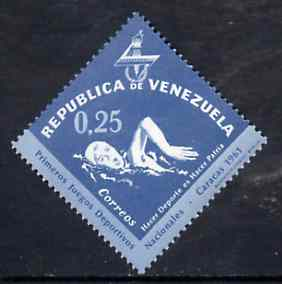 Venezuela 1962 Swimming 25c from National Games Diamond shaped set, SG 1742 unmounted mint