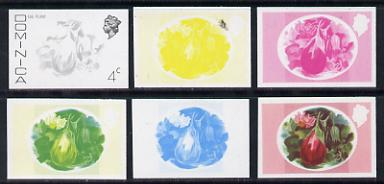 Dominica 1975-78 Egg Plant 4c set of 6 imperf progressive colour proofs comprising the 4 basic colours plus composites (as SG 494) unmounted mint, stamps on food