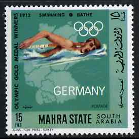Aden - Mahra 1968 Swimming 15f from German Olympics Gold Medal Winners set unmounted mint, Mi 100A*