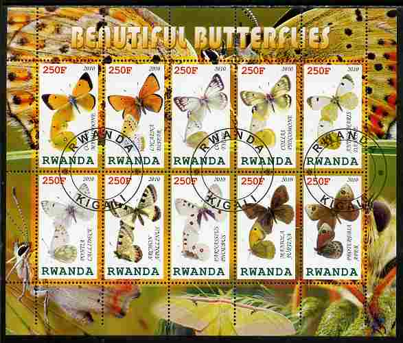 Rwanda 2010 Beautiful Butterflies perf sheetlet containing 10 values fine cto used