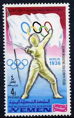 Yemen - Royalist 1968 Fencing 4b from Olympics Winners with Flags set unmounted mint, Mi 520A