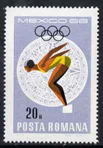 Rumania 1968 Diving 20b unmounted mint from Mexico Olympics set, SG 3575, Mi 2698*