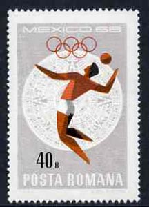 Rumania 1968 Volleyball 40b unmounted mint from Mexico Olympics set, SG 3576, Mi 2699*