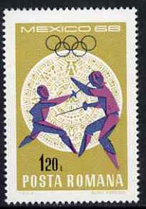 Rumania 1968 Fencing 1b20 unmounted mint from Mexico Olympics set, SG 3579, Mi 2702*