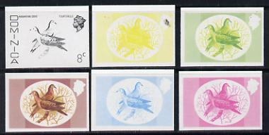 Dominica 1975-78 Zenaida Dove 8c set of 6 imperf progressive colour proofs comprising the 4 basic colours plus blue & yellow and blue, yellow & magenta composites (as SG 497) unmounted mint