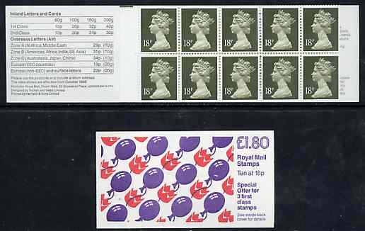 Booklet - Great Britain 1988 Children's Party Balloons \A31.80 booklet complete with margin at left, SG FU8