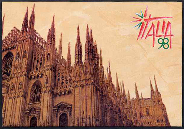 Cinderella - Italy 1998 Italia 98 Stamp Exhibition souvenir folder containing pane of 6 self adhesive labels