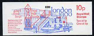 Booklet - Great Britain 1980 'London 1980' International Stamp Exhibition 10p booklet complete, SG FB11