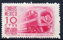 Mexico 1951 Mail Train 10c pink unmounted mint, SG P916