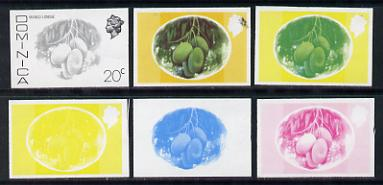 Dominica 1975-78 Mango Longue 20c set of 6 imperf progressive colour proofs comprising the 4 basic colours plus blue & yellow and blue, yellow & magenta composites (as SG 499) unmounted mint