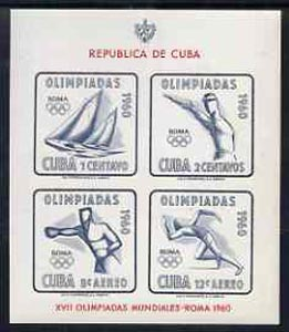 Cuba 1960 Olympic Games imperf m/sheet unmounted mint, SG MS 958