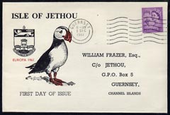 Great Britain - Jethou 1961 Puffin Illustrated cover from Guernsey bearing 3d Regional canc Dec 1st, reverse shows complete set of 3 Jethou birds h/stamped EUROPA  and cancelled Jethou Dec 1st