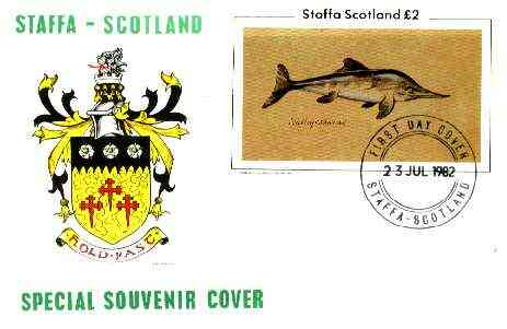 Staffa 1982 Prehistoric Marine Life (Ichthyosaurus) imperf deluxe sheet (\A32 value) on cover with first day cancel