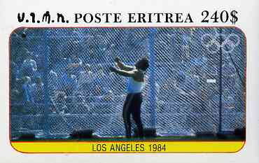 Eritrea 1984 Los Angeles Olympic Games (Hammer) imperf deluxe sheet ($240 value)