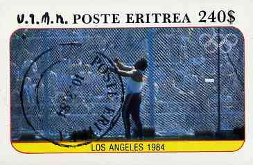 Eritrea 1984 Los Angeles Olympic Games (Hammer) imperf deluxe sheet ($240 value) cto used
