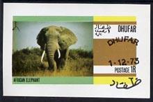 Dhufar 1973 Elephant imperf souvenir sheet (1R value) cto used