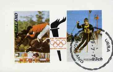 Nagaland 1976 Montreal Olympic Games (Show Jumping & Skiing) imperf souvenir sheet (3ch value) cto used